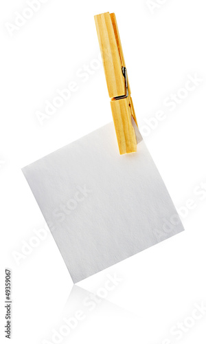 Blank notelet hanging from a clothespeg