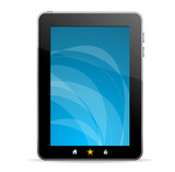 Black tablet like Ipade on white background
