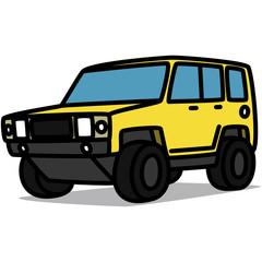 Cartoon Car 20 : Yellow Offroad Truck