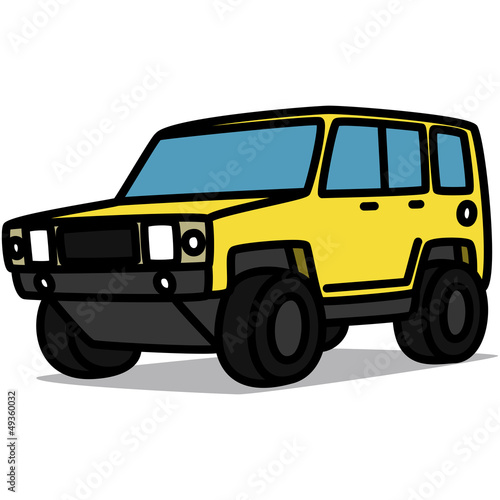 Cartoon Car 20 : Yellow Offroad Truck