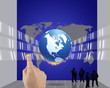 Businessman pressing business world
