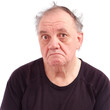 old man wake up and ruffled sad  white background