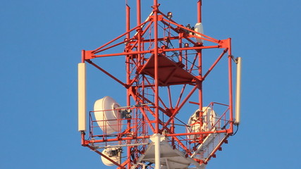 Telecommunication tower with antennas of cellular communication