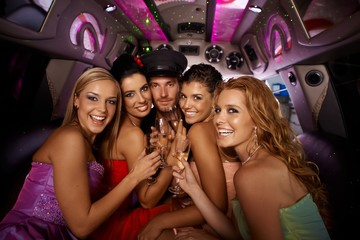 Hens night in limousine