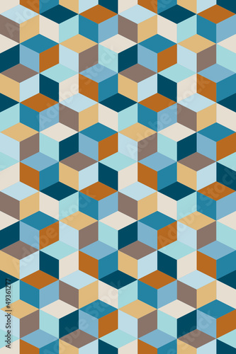 Seamless Pattern Cubes Retro Blue/Brown/Beige