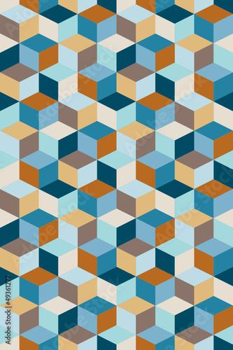 Seamless Pattern Cubes Retro Blue/Brown/Beige - 49361277
