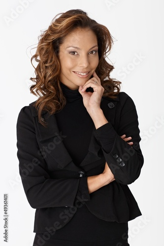 Beautiful young businesswoman smiling