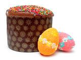 Easter bread and eggs (kulich)