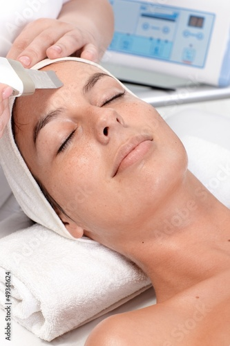 Closeup portrait of facial beauty treatment