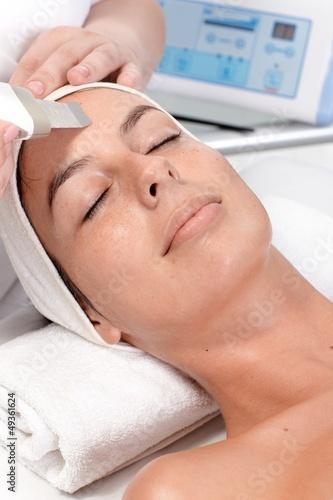 Closeup portrait of facial beauty treatment