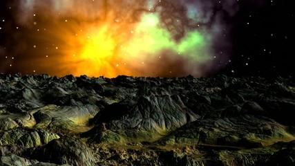 Bright nebula against a fantastic landscape