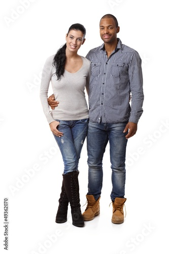Attractive mixed race couple smiling