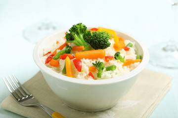 riso bianco con verdure