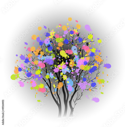 tree with colorful spots