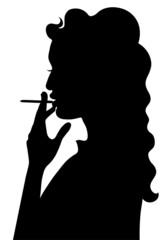 Silhouette of smoking girl