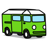 Cartoon Car 35 : Green Minibus