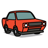 Cartoon Car 39 : Red Muscle Car