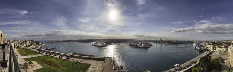 Panorama of Valletta harbour, Malta