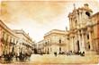Piazza del Duomo à Syracuse vintage - Sicile Italie