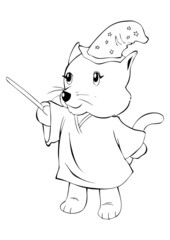 Outline illustration of a cat in magician costume