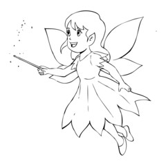 Outline illustration of a little fairy