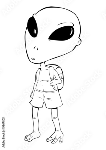 Outline illustration of an alien with a backpack