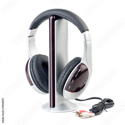 Stock Photo:Modern audio player and headphone set