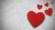 Rote Herzen auf Filz