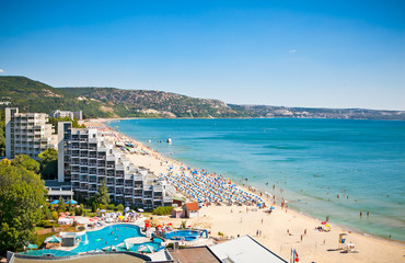 Panoramic view of Golden Sands beach in Bulgaria.