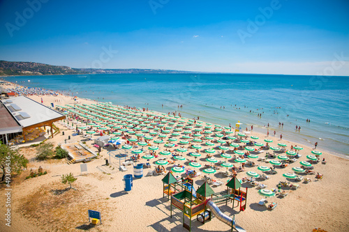 Panoramic view of Golden Sands beach, Bulgaria. - 49368436