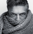 Black and White Attractive Face Covered by Scarf