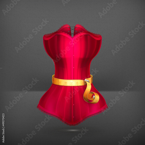 Tape measurement and red dress