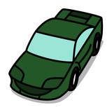 Cartoon Car 46 : Green Luxury Vehicle