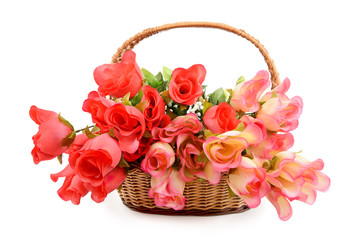 basket with colorful artificial flowers