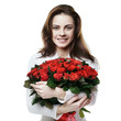 girl with bouquet of red roses