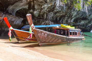Long tail boats on Phang Nga Bay in Thailand