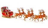Fototapety Santa Claus on sleigh, deers and Christmas presents