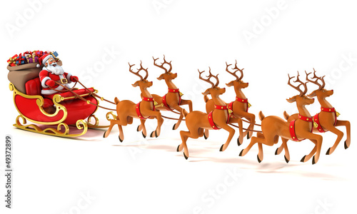 Santa Claus on sleigh, deers and Christmas presents