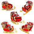 Santa Claus on sleigh with presents - various views