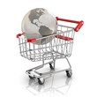 globe in the shopping cart, global market concept
