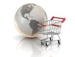 Shopping cart and globe, global market concept