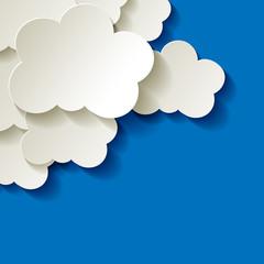 Clouds  Wolken Papier weiss blau Ecke Hintergrund