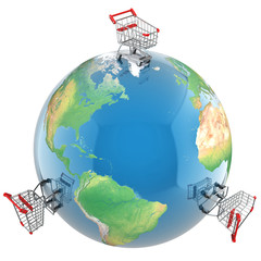 Shopping carts over the globe, global market concept