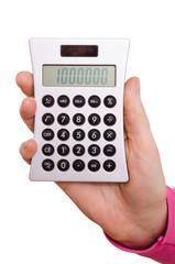 Hand hält einen Taschenrechner