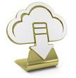 """Download Cloud"" Golden Icon"