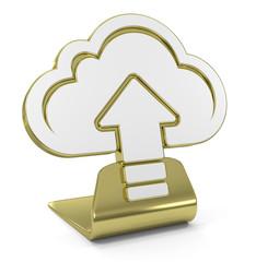 """Upload Cloud"" Golden Icon"