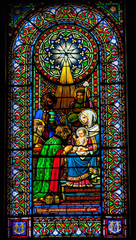 Stained Glass Magi Three Kings Jesus Mary Montserrat Catalonia