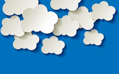 Clouds  Wolken Himmel Papier weiss blau Ecke Hintergrund
