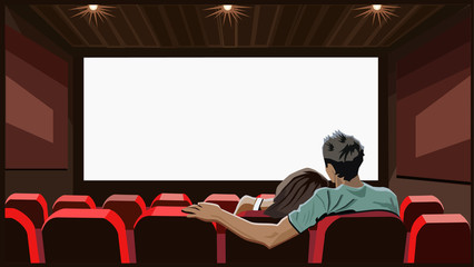 Сouple front of screen in movie theater