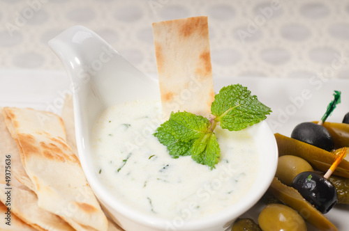 Greek Tzatziki yogurt dip and pita bread